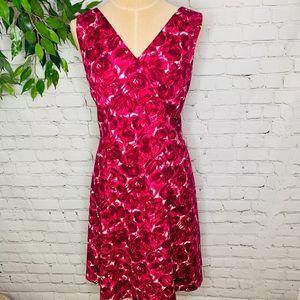 Talbots Fuchsia Floral Sleeveless Vneck Midi Dress